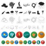 Icônes plates de temps différent dans la collection d'ensemble pour la conception Les signes et les caractéristiques du temps dir illustration libre de droits