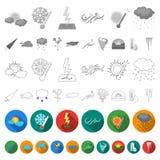 Icônes plates de temps différent dans la collection d'ensemble pour la conception Les signes et les caractéristiques du temps dir illustration de vecteur