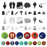 Icônes plates de toxicomanie et d'attributs dans la collection d'ensemble pour la conception Web d'actions de symbole de vecteur  illustration de vecteur