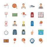 Icônes plates de vecteur de basket-ball Illustration Libre de Droits