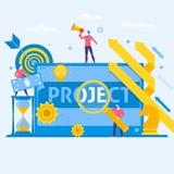 Icônes plates de vecteur d'art de concept multitâche d'affaires de gestion des projets Photo libre de droits