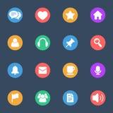 Icônes plates de vecteur différent sur l'ensemble de substrat de couleur de 16 illustration stock