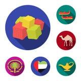 Icônes plates des Emirats Arabes Unis de pays dans la collection d'ensemble pour la conception Tourisme et Web d'actions de symbo Illustration Stock