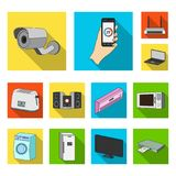 Icônes plates futées d'appareils ménagers dans la collection d'ensemble pour la conception Web moderne d'actions de symbole de ve Photographie stock libre de droits