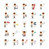 Icônes plates heureuses de vecteur d'employés de bureau illustration libre de droits