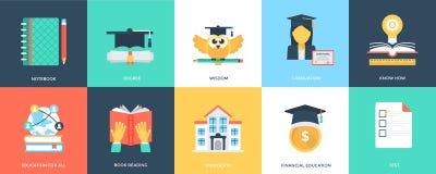 Icônes plates innovatrices d'éducation illustration stock