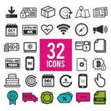 Icônes plates réglées pour le Web et les apps mobiles - finances d'affaires d'achats de voyage de communication illustration libre de droits