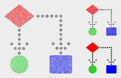 Icônes pointillées de schéma fonctionnel de vecteur illustration stock