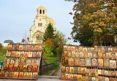Icônes pour la vente Sofia Bulgaria Photos stock