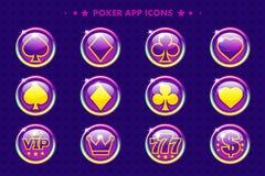 Icônes pourpres du tisonnier APP, symboles de casino de bande dessinée illustration libre de droits