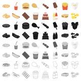 Icônes réglées d'aliments de préparation rapide Images libres de droits