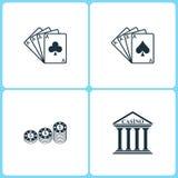 Icônes réglées de casino d'illustration de vecteur Éléments de quatre Ace, puces de jeu et icône de casino illustration libre de droits
