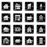 Icônes réglées de Chambre, style grunge Illustration de Vecteur