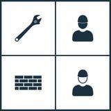 Icônes réglées de cinéma d'illustration de vecteur Éléments de mur de clé, de briques et d'icône de travailleur illustration libre de droits