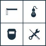Icônes réglées de cinéma d'illustration de vecteur Éléments de triangle, d'ampoule, de lunettes protectrices de soudure et d'icôn Photographie stock