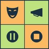 Icônes réglées de cinéma d'illustration de vecteur Les éléments du rebobinage, jeu, icône éjectent et de caméras vidéo Photographie stock