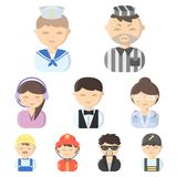 Icônes réglées de profession dans le style de bande dessinée Grande collection d'illustration d'actions de symbole de vecteur de  Photos libres de droits