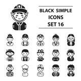 Icônes réglées de profession dans le style noir Grande illustration d'actions de symbole de vecteur de profession de collection Image libre de droits