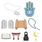 Icônes réglées de religion dans le style de bande dessinée Grande collection d'illustration d'actions de symbole de vecteur de re Images libres de droits