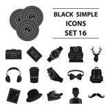 Icônes réglées de style de hippie dans le style noir Photographie stock