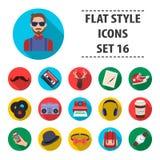 Icônes réglées de style de hippie dans le style plat Grande collection d'illustration d'actions de symbole de vecteur de style de Images stock
