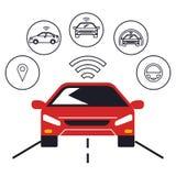 Icônes réglées de voiture autonome illustration stock