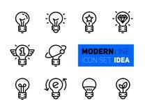 Icônes réglées des symboles d'idée illustration de vecteur