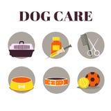 Icônes réglées : Objet de soin de chien Images stock