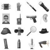 Icônes révélatrices réglées, style monochrome gris illustration de vecteur