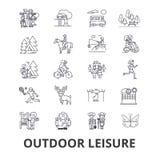 Icônes relatives de loisirs extérieurs illustration stock