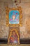 Icônes religieuses peintes dans le temple de l'Acropole d'Ialysos image libre de droits