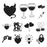 Icônes romantiques de noir de relations dans la collection d'ensemble pour la conception L'amour et l'amitié dirigent l'illustrat Photographie stock libre de droits