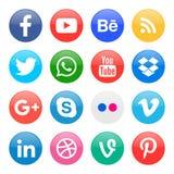 icônes rondes pour le media social photo stock