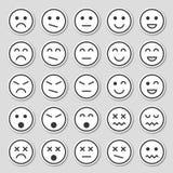 Icônes simples d'émotion Autocollants d'émotion dans le style plat d'isolement sur le fond gris illustration libre de droits
