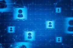 Icônes sociales bleues de réseau de médias et de personnes illustration libre de droits