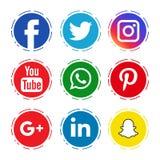 Icônes sociales de media illustration stock