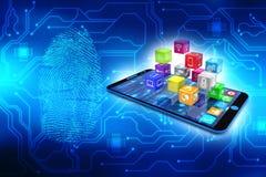 Icônes sociales de media avec le smartphone à l'arrière-plan numérique 3d rendent Image libre de droits