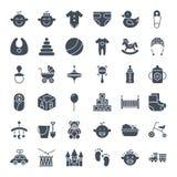 Icônes solides de Web de bébé Image stock