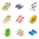 Icônes spéciales de chaussures réglées, style isométrique Image stock