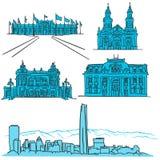 Icônes tirées par la main d'architecture célèbre de Santiago Chile illustration de vecteur