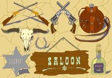 Icônes tirées par la main de cowboy de vecteur réglées illustration stock
