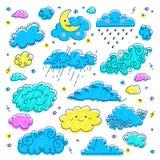 Icônes tirées par la main de nuages de nuage réglées Symboles du ciel et de temps des enfants Dirigez les nuages de ciel nocturne Photos libres de droits