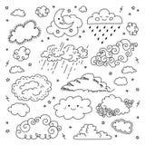 Icônes tirées par la main de nuages de nuage réglées Symboles du ciel et de temps des enfants, nuages de ciel nocturne, de lune,  Photo stock