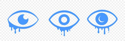 Icônes tristes pleurantes d'émotion de bande dessinée d'oeil de larmes illustration libre de droits