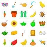 Icônes végétales de menu réglées, style de bande dessinée Images stock