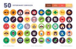 50 icônes vétérinaires illustration stock