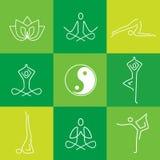 Icônes yoga de schéma réglées Photo stock