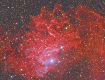 IC405 Flaming star nebula. Red blue royalty free stock images