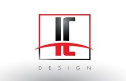 IC I C Logo Letters avec des couleurs et le bruissement rouges et noirs Photo stock
