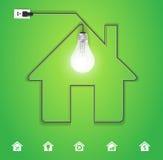 Icône à la maison de vecteur avec l'ampoule créative Images stock